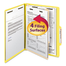 SMEAD MANUFACTURING CO. SMD13704 Top Tab Classification Folder, One Divider, Four-Section, Letter, Yellow, 10/box
