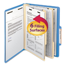 SMEAD MANUFACTURING CO. SMD14001 Top Tab Classification Folder, Two Dividers, Six-Sections, Letter, Blue, 10/box