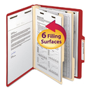 SMEAD MANUFACTURING CO. SMD14003 Top Tab Classification Folder, Two Dividers, Six-Section, Letter, Red, 10/box