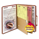 SMEAD MANUFACTURING CO. SMD14079 Pressboard Folders With Two Pocket Dividers, Letter, Six-Section, Red, 10/box