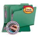 SMEAD MANUFACTURING CO. SMD14938 Colored Pressboard Fastener Folders, Letter, 1/3 Cut, Green, 25/box