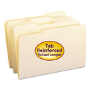 SMEAD MANUFACTURING CO. SMD15334 File Folders, 1/3 Cut Assorted, Reinforced Top Tab, Legal, Manila, 100/box