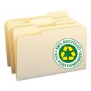 SMEAD MANUFACTURING CO. SMD15339 100% Recycled File Folders, 1/3 Cut, One-Ply Top Tab, Legal, Manila, 100/box