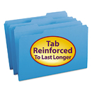 SMEAD MANUFACTURING CO. SMD17034 File Folders, 1/3 Cut, Reinforced Top Tab, Legal, Blue, 100/box