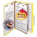 SMEAD MANUFACTURING CO. SMD18734 Pressboard Classification Folders, Legal, Four-Section, Yellow, 10/box