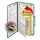 SMEAD MANUFACTURING CO. SMD19033 Pressboard Classification Folders, Legal, Six-Section, Green, 10/box
