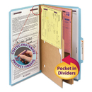 SMEAD MANUFACTURING CO. SMD19081 Pressboard Folders With Two Pocket Dividers, Legal, Six-Section, Blue, 10/box