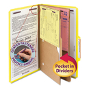 SMEAD MANUFACTURING CO. SMD19084 Pressboard Folders With Two Pocket Dividers, Legal, Six-Section, Yellow, 10/box