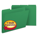 SMEAD MANUFACTURING CO. SMD21546 Recycled Folders, One Inch Expansion, 1/3 Top Tab, Letter, Green, 25/box