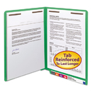 SMEAD MANUFACTURING CO. SMD25140 Two-Inch Capacity Fastener Folders, Straight Tab, Letter, Green, 50/box