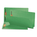 SMEAD MANUFACTURING CO. SMD28140 Two-Inch Capacity Fastener Folders, Straight Tab, Legal, Green, 50/box
