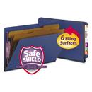 SMEAD MANUFACTURING CO. SMD29784 Pressboard End Tab Classification Folders, Legal, Six-Section, Dark Blue, 10/box