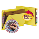 SMEAD MANUFACTURING CO. SMD29789 Pressboard End Tab Classification Folders, Legal, Six-Section, Yellow, 10/box