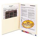 SMEAD MANUFACTURING CO. SMD34100 Reinforced End Tab Pocket Folder, Fastener, Straight Cut, Letter, Manila, 50/box