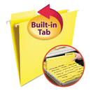 Smead SMD64097 Fastab Hanging File Folders, Letter, Yellow, 20/box