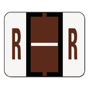 Smead SMD67088 A-Z Color-Coded Bar-Style End Tab Labels, Letter R, Brown, 500/roll