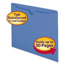 SMEAD MANUFACTURING CO. SMD75502 Colored File Jackets W/reinforced 2-Ply Tab, Letter, 11pt, Blue, 100/box