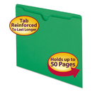SMEAD MANUFACTURING CO. SMD75503 Colored File Jackets W/reinforced 2-Ply Tab, Letter, 11pt, Green, 100/box