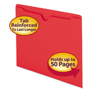 SMEAD MANUFACTURING CO. SMD75509 Colored File Jackets W/reinforced 2-Ply Tab, Letter, 11pt, Red, 100/box