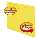 SMEAD MANUFACTURING CO. SMD75511 Colored File Jackets W/reinforced 2-Ply Tab, Letter, 11pt, Yellow, 100/box