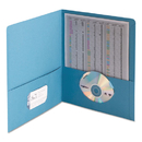 SMEAD MANUFACTURING CO. SMD87852 Two-Pocket Folder, Embossed Leather Grain Paper, Blue, 25/box