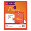 SMEAD MANUFACTURING CO. SMD89547 Poly String & Button Envelope, 9 3/4 X 11 5/8 X 1 1/4, Red, 5/pack