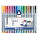 Staedtler STD334SB20A6 Triplus Fineliner Marker, Super Fine, Water-Based, 20 Color Set