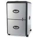 Storex STX61351U01C Two-Drawer Mobile Filing Cabinet, Metal Siding, 19w X 15d X 23h, Silver/black