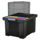 Storex STX61543U01C Portable File Tote W/locking Handle Storage Box, Letter/legal, Black/silver