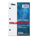 TOPS BUSINESS FORMS TOP62304 Filler Paper, 3h, 20 Lb, 5 1/2 X 8 1/2, College Rule, White, 100 Sheets/pack