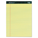 TOPS TOP63406 Docket Ruled Perforated Pads, 8 1/2 X 11 3/4, Canary, 50 Sheets, 6/pack