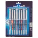 uni-ball 1734916 VISION Needle Stick Roller Ball Pen, Fine 0.7mm, Assorted Ink, Silver Barrel, 8/Set