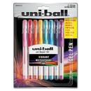 uni-ball 2004052 Stick Gel Pen, Micro 0.38mm, Assorted Ink, Clear Barrel, 8/Set