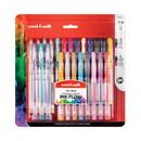 uni-ball 2004056 Stick Gel Pen, 17 Micro; 7 Med, Assorted Ink, Clear Barrel, 24/Set