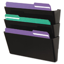 UNIVERSAL OFFICE PRODUCTS UNV08121 Recycled Wall File, Three Pocket, Plastic, Black