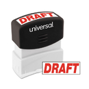 Universal UNV10049 Message Stamp, Draft, Pre-Inked One-Color, Red
