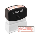 Universal UNV10054 Message Stamp, Faxed, Pre-Inked One-Color, Red