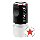 UNIVERSAL PRODUCTS UNV10081 Round Message Stamp, Star, Pre-Inked/re-Inkable, Red