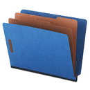 Universal UNV10318 Pressboard End Tab Classification Folders, Letter, Six-Section, Blue, 10/box
