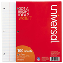 UNIVERSAL PRODUCTS UNV20911 Mediumweight 16-Lb. Filler Paper, 8 1/2 X 11, College Rule, White, 100 Sheets/pk