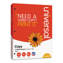 UNIVERSAL PRODUCTS UNV28230 Copy Paper, 92 Brightness, 20lb, 8-1/2 X 11, 3-Hole Punch, White, 5000 Shts/ctn
