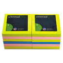 Universal UNV35617 Fan-Folded Pop-Up Notes, 3 X 3, 4 Assorted Neon Colors, 100-Sheet, 12/pack