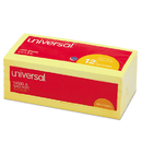 UNIVERSAL PRODUCTS UNV35668 Standard Self-Stick Notes, 3 X 3, Yellow, 100-Sheet, 12/pack