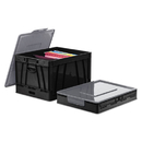 Universal UNV40010 Collapsible Crate, 17 1/4 x 14 1/4 x 10 1/2, Black/Gray, 2/Pack