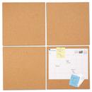 Universal UNV43404 Cork Tile Panels, Brown, 12 x 12, 4/Pack