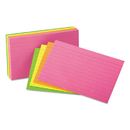 Universal UNV47237 Ruled Neon Glow Index Cards, 4 X 6, Assorted, 100/pack