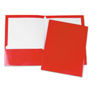 Universal UNV56420 Laminated Two-Pocket Folder, Cardboard Paper, Red, 11 x 8 1/2, 25/Pack