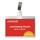 Universal UNV84610 Clear Laminating Pouches, 5 mil, ID Tag with Clip, 3 3/4 x 3 7/8, 25/Pack