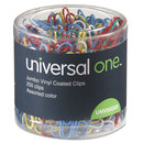 Universal UNV95000 Vinyl-Coated Wire Paper Clips, Jumbo, Assorted Colors, 250/pack