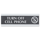 U. S. STAMP & SIGN USS4759 Century Series Office Sign,turn Off Cell Phone, 9 X 3